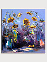 cheap -Hand Painted Canvas Oilpainting Impression Sunflowers  by Knife Home Decoration with Frame Painting Ready to Hang