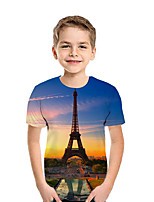 cheap -Kids Boys' Active Street chic Print Patchwork Print Short Sleeve Tee Gold
