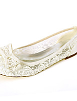 cheap -Women's Wedding Shoes Flat Heel Round Toe Bowknot Lace Sweet Spring & Summer Black / White / Ivory / Party & Evening