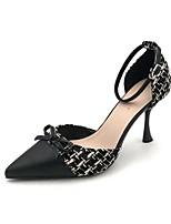 cheap -Women's Heels Stiletto Heel Pointed Toe Canvas Spring & Summer Black / Almond
