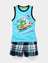 cheap -Kids Toddler Boys' Active Dailywear Daily Cartoon Print Sleeveless Clothing Set Blue