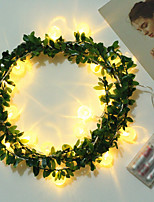 cheap -LED Light Ball Light String Rattan Green Leaf Light Christmas Light Battery Holiday Party Room Decoration Lantern