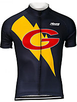 cheap -21Grams Men's Short Sleeve Cycling Jersey 100% Polyester Black / Yellow Cartoon Bike Jersey Top Mountain Bike MTB Road Bike Cycling UV Resistant Breathable Quick Dry Sports Clothing Apparel