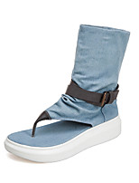 cheap -Women's Sandals Flat Heel Open Toe Denim Summer Black / Beige / Light Blue