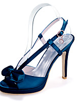 cheap -Women's Wedding Shoes Stiletto Heel Peep Toe Bowknot Satin Sweet Spring & Summer White / Purple / Champagne / Party & Evening