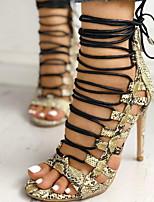 cheap -Women's Sandals Print Shoes Stiletto Heel Round Toe PU Summer Yellow / Black