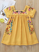 cheap -Kids Girls' Floral Short Sleeve Dress Yellow