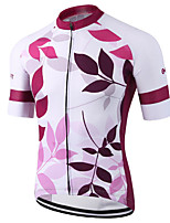 cheap -21Grams Men's Short Sleeve Cycling Jersey 100% Polyester Pink Leaf Bike Jersey Top Mountain Bike MTB Road Bike Cycling UV Resistant Breathable Quick Dry Sports Clothing Apparel / Stretchy / Race Fit