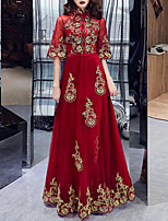 cheap -A-Line Chinese Style Red Engagement Formal Evening Dress High Neck Half Sleeve Floor Length Tulle with Embroidery Appliques 2020