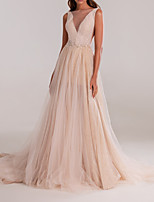 cheap -A-Line Elegant Pink Engagement Formal Evening Dress Illusion Neck Sleeveless Court Train Tulle with Crystals Beading 2020