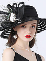 cheap -Vintage Style Fashion Tulle / Organza Hats / Headwear with Rhinestone / Feather / Bowknot 1 Piece Wedding / Outdoor Headpiece