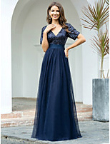 cheap -A-Line Sparkle Blue Wedding Guest Formal Evening Dress V Neck Short Sleeve Floor Length Tulle Sequined with Sequin 2020