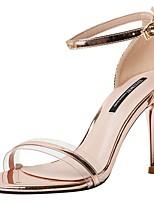 cheap -Women's Sandals Stiletto Heel Round Toe PU Summer Champagne / Silver