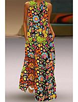 cheap -Women's Holiday Vacation Beach Plus Size Maxi A Line Dress - Geometric Print Summer Yellow Blushing Pink Green S M L XL