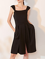 cheap -A-Line Scoop Neck Knee Length Spandex Little Black Dress / Black Cocktail Party / Homecoming Dress with Pleats / Split 2020