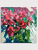 cheap -Hand Painted Canvas Oilpainting Abstract Red Flowers by Knife Home Decoration with Frame Painting Ready to Hang