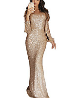 cheap -Mermaid / Trumpet V Neck Floor Length Cotton / Polyester / Sequined Sparkle / Gold Formal Evening / Party Wear Dress with Sequin / Tassel 2020