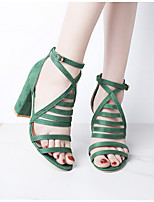 cheap -Women's Sandals Chunky Heel Round Toe PU Summer Black / Green