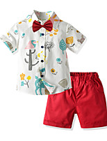 cheap -Toddler Boys' Basic Birthday Party Party & Evening Tropical Leaf Floral Print Short Sleeve Regular Regular Clothing Set Red