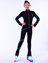 cheap -Over The Boot Figure Skating Tights Figure Skating Fleece Jacket Girls' Ice Skating Top Bottoms Black Fleece Spandex High Elasticity Training Competition Skating Wear Crystal / Rhinestone Long Sleeve