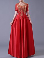 cheap -A-Line Queen Anne Floor Length Polyester Elegant / Red Engagement / Wedding Guest Dress with Appliques / Bow(s) 2020