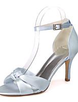 cheap -Women's Wedding Shoes Stiletto Heel Open Toe Satin Minimalism Spring & Summer Black / White / Purple / Party & Evening