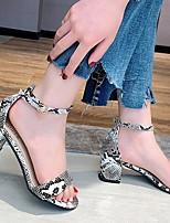 cheap -Women's Sandals Chunky Heel Round Toe PU Summer White / Red