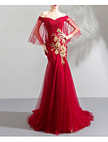 cheap -Mermaid / Trumpet Off Shoulder Sweep / Brush Train Tulle Chinese Style / Red Engagement / Formal Evening Dress with Appliques / Pleats 2020
