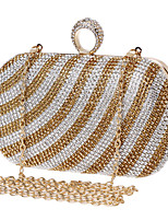 cheap -Women's Crystals Polyester / Alloy Evening Bag Black / Gold / Rainbow