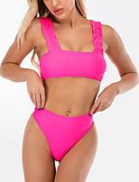 cheap -Women's Basic Fuchsia Halter High Waist Tankini Swimwear Swimsuit - Solid Colored S M L Fuchsia