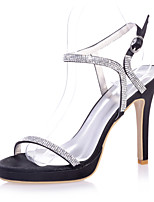 cheap -Women's Wedding Shoes Stiletto Heel Open Toe Sparkling Glitter Satin Sweet Spring & Summer Black / White / Purple / Party & Evening