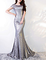 cheap -Mermaid / Trumpet Jewel Neck Sweep / Brush Train Polyester Sparkle / Grey Engagement / Formal Evening Dress with Sequin 2020