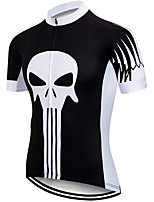 cheap -21Grams Men's Short Sleeve Cycling Jersey 100% Polyester Black / White Skull Bike Jersey Top Mountain Bike MTB Road Bike Cycling UV Resistant Breathable Quick Dry Sports Clothing Apparel / Stretchy