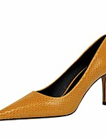 cheap -Women's Heels Stiletto Heel Pointed Toe Faux Leather Casual / Minimalism Spring / Summer Black / Nude / Yellow