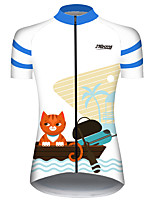 cheap -21Grams Women's Short Sleeve Cycling Jersey 100% Polyester Blue / White Cat Animal Bike Jersey Top Mountain Bike MTB Road Bike Cycling UV Resistant Breathable Quick Dry Sports Clothing Apparel