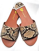 cheap -Women's Sandals Flat Heel Round Toe PU Spring & Summer Almond / White