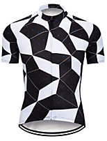 cheap -21Grams Men's Short Sleeve Cycling Jersey 100% Polyester Black / White Plaid / Checkered Bike Jersey Top Mountain Bike MTB Road Bike Cycling UV Resistant Breathable Quick Dry Sports Clothing Apparel