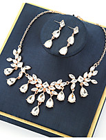 cheap -Women's Crystal Bridal Jewelry Sets Transparent Drop Vintage Elegant Earrings Jewelry Gold For Wedding Party 1 set