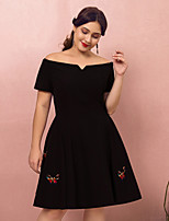cheap -A-Line Off Shoulder Short / Mini Spandex Plus Size / Black Cocktail Party / Homecoming Dress with Embroidery 2020
