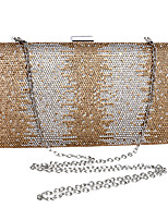 cheap -Women's Crystals / Chain Polyester Evening Bag Color Block Black / Gold / Silver