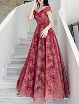 cheap -A-Line Off Shoulder Floor Length Tulle / Sequined Floral / Red Engagement / Formal Evening Dress with Sequin / Appliques 2020