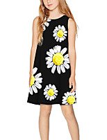 cheap -Kids Girls' Basic Cute Floral Print Sleeveless Above Knee Dress Black