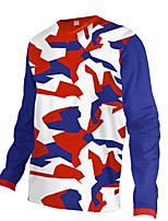 cheap -21Grams Men's Long Sleeve Cycling Jersey Downhill Jersey Dirt Bike Jersey 100% Polyester Red / White Camo / Camouflage Bike Jersey Top Mountain Bike MTB Road Bike Cycling UV Resistant Breathable