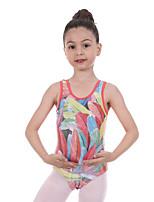 cheap -Gymnastics Leotards Girls' Kids Leotard Spandex High Elasticity Breathable Sparkly Sleeveless Training Ballet Dance Gymnastics Red