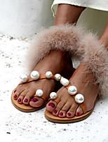 cheap -Women's Sandals Furry Feather Flat Heel Round Toe Rabbit Fur Summer Beige