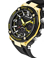 cheap -Men's Sport Watch Japanese Automatic self-winding Rubber Black 30 m Water Resistant / Waterproof Calendar / date / day Alarm Clock Analog - Digital Outdoor Cool - Black Black+Gloden Red One Year