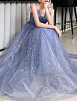 cheap -A-Line Spaghetti Strap Floor Length Tulle Sparkle / Blue Prom / Formal Evening Dress with Sequin 2020