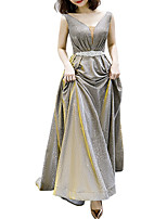 cheap -A-Line V Neck Floor Length Polyester Glittering / Gold Prom / Formal Evening Dress with Beading / Sequin / Sash / Ribbon 2020