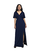 cheap -Women's Daily Going out Sexy Sophisticated Maxi Batwing Sleeve Swing Dress - Solid Color Basic Black Purple Army Green XXXXL XXXXXL XXXXXXL 7XL