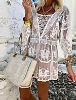 cheap -Women's Daily Vacation Beach Boho Cotton / Lace Loose Blouse - Solid Colored Lace / Eyelet Square Neck White / Spring / Summer